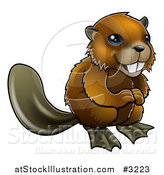 Vector Illustration of a Cute Happy Beaver Smiling by AtStockIllustration