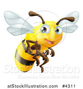 Vector Illustration of a Cute Happy Bee Mascot Flying by AtStockIllustration