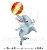 Vector Illustration of a Cute Happy Dolphin Jumping and Playing with a Ball by AtStockIllustration