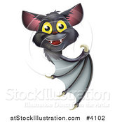 Vector Illustration of a Cute Happy Vampire Bat Looking Around and Pointing at a Sign by AtStockIllustration