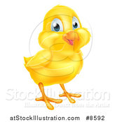 Vector Illustration of a Cute Happy Yellow Easter Chick by AtStockIllustration