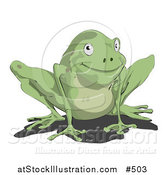 Vector Illustration of a Cute Little Green Frog by AtStockIllustration