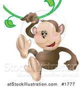 Vector Illustration of a Cute Monkey Swinging on a Green Vine by AtStockIllustration