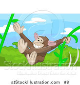 Vector Illustration of a Cute Monkey Swinging on Vines in a Forest by AtStockIllustration