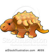 Vector Illustration of a Cute Orange Armored Dinosaur with Spikes Along Its Back by AtStockIllustration