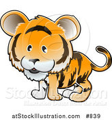 Vector Illustration of a Cute Orange Tiger with Black Stripes by AtStockIllustration