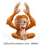 Vector Illustration of a Cute Orangutan Monkey Sitting and Clapping by AtStockIllustration