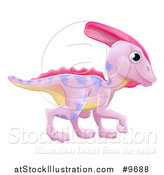 Vector Illustration of a Cute Pink Parasaurolophus Dinosaur by AtStockIllustration