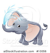 Vector Illustration of a Cute Playful Baby Elephant Spraying Water by AtStockIllustration