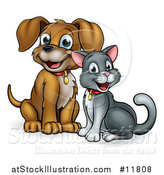Vector Illustration of a Cute Puppy Dog and Cat Sitting by AtStockIllustration