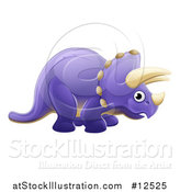 Vector Illustration of a Cute Purple Triceratops Dino Facing Right by AtStockIllustration
