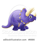 Vector Illustration of a Cute Purple Triceratops Dinosaur by AtStockIllustration