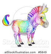 Vector Illustration of a Cute Rainbow Striped Zebra by AtStockIllustration