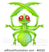 Vector Illustration of a Cute Red Eyed Green Praying Mantis by AtStockIllustration