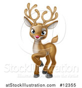 Vector Illustration of a Cute Red Nosed Christmas Reindeer by AtStockIllustration