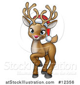 Vector Illustration of a Cute Red Nosed Christmas Reindeer Wearing a Santa Hat by AtStockIllustration