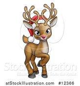 Vector Illustration of a Cute Red Nosed Reindeer Wearing a Christmas Santa Hat by AtStockIllustration