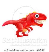 Vector Illustration of a Cute Red Tyrannosaurus Rex Dinosaur by AtStockIllustration