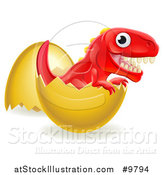 Vector Illustration of a Cute Red Tyrannosaurus Rex Dinosaur Hatching by AtStockIllustration