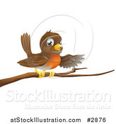 Vector Illustration of a Cute Robin Bird Perched on a Branch and Pointing with a Wing by AtStockIllustration