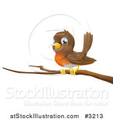 Vector Illustration of a Cute Robin Bird Perched on a Branch by AtStockIllustration