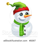 Vector Illustration of a Cute Snowman in a Scarf and Elf Hat by AtStockIllustration