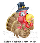 Vector Illustration of a Cute Thanksgiving Turkey Bird Wearing a Pilgrim Hat and Giving a Thumb up by AtStockIllustration