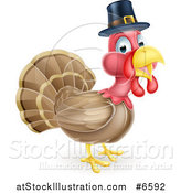 Vector Illustration of a Cute Thanksgiving Turkey Bird Wearing a Pilgrim Hat by AtStockIllustration