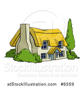 Vector Illustration of a Cute Thatched Roof Cottage Farm House by AtStockIllustration