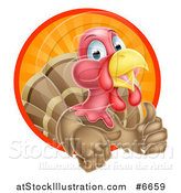 Vector Illustration of a Cute Turkey Bird Giving a Thumb up and Emerging from a Circle of Sun Rays by AtStockIllustration