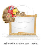 Vector Illustration of a Cute Turkey Bird Giving a Thumb up Around a Sign by AtStockIllustration