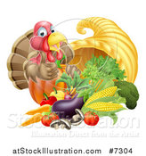 Vector Illustration of a Cute Turkey Bird Giving a Thumb up over a Pumpkin and Harvest Cornucopia 2 by AtStockIllustration