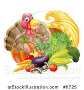 Vector Illustration of a Cute Turkey Bird Giving a Thumb up over a Pumpkin and Harvest Cornucopia by AtStockIllustration