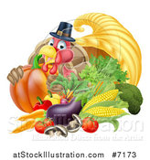 Vector Illustration of a Cute Turkey Bird Pilgrim Giving a Thumb Up, with Harvest Produce and a Cornucopia 2 by AtStockIllustration