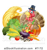 Vector Illustration of a Cute Turkey Bird Pilgrim Giving a Thumb Up, with Harvest Produce and a Cornucopia by AtStockIllustration
