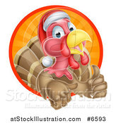 Vector Illustration of a Cute Turkey Bird Wearing a Santa Hat and Giving a Thumb up While Emerging from a Circle of Sunshine by AtStockIllustration
