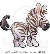 Vector Illustration of a Cute White and Brown Zebra with Pink Ears by AtStockIllustration