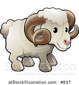 Vector Illustration of a Cute White Male Sheep, a Ram, with Brown Curly Horns by AtStockIllustration