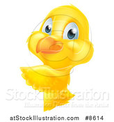 Vector Illustration of a Cute Yellow Easter Chick Pointing Around a Sign by AtStockIllustration