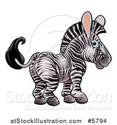 Vector Illustration of a Cute Zebra Looking Back by AtStockIllustration