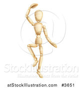 Vector Illustration of a Dancing Wooden Mannequin by AtStockIllustration