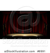 Vector Illustration of a Dark and Deserted Theater Stage with Red Curtains and Foot Lights by AtStockIllustration