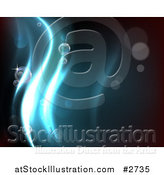 Vector Illustration of a Dark Background with Blue Water Waves and Bubbles by AtStockIllustration