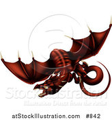 Vector Illustration of a Dark Blood Red Dragon in Flight over a White Background by AtStockIllustration