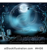 Vector Illustration of a Dark Spooky Cemetery with Tombstones and Bare Trees in the Moonlight by AtStockIllustration