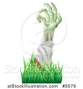 Vector Illustration of a Decaying Green Zombie Arm Reaching out Through Grass by AtStockIllustration