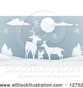Vector Illustration of a Deer Family with Snowflakes at Night by AtStockIllustration