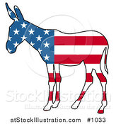 Vector Illustration of a Democratic Donkey American Flag by AtStockIllustration