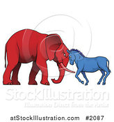 Vector Illustration of a Democratic Donkey and Republican Elephant Facing off by AtStockIllustration