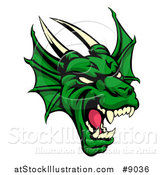 Vector Illustration of a Demonic Roaring Green Dragon Head by AtStockIllustration